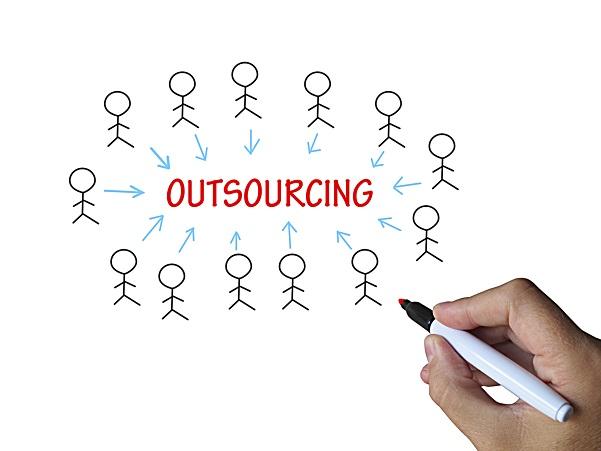 Outsourcing auf einem Whiteboard